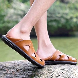 Round Toe Flat Casual Men's Sandals