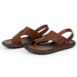 Simple PU Thong Slip-On Men's Sandals