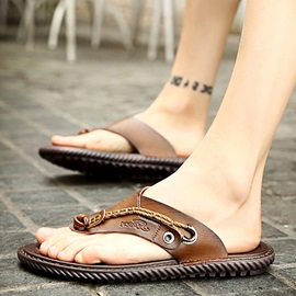 PU Thong Sequin Sewing Men's Sandals