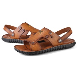 PU Open Toe Plain Slip-On Sandals for Men