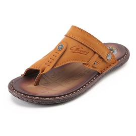 PU Plain Slip-On Thong Men's Sandals