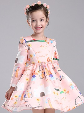 Multicolor Printing Long Sleeve Girl's Dress