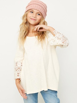 Lace Bell-Sleeve Solid Color Big Girl's Blouse