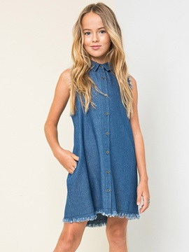 Chic Denim Rough Selvage Girl's Dress