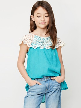 Elegant Lace Sleeveless Girl's T-Shirt