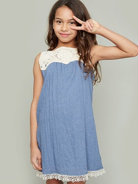 Chic Hollow Lace Loose-Fit Girl's Dresss