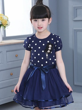 Fashion Polka Dots Lace Bowknot Girls' Dresses