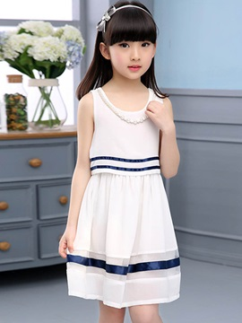 Sweet Stripe Sleeveless Girls' Dresses