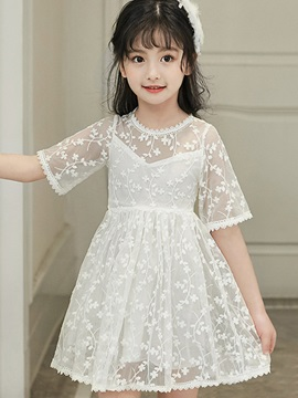 Sweet Embroidery Lace Hollow Girl's Dress