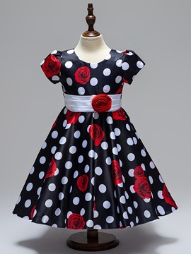 Vintage Print Flower Bowknot Belt Appliques Girl's Dress