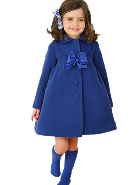 Pure Color Bowknot Girl's Coat