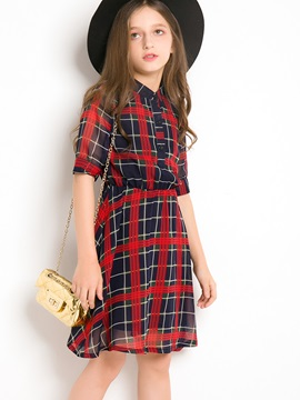 Fashion Black And Red Plaid Girl's Dress