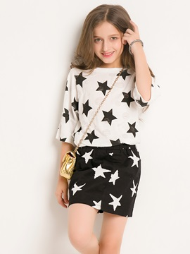 Fashion Star Printed Half-Sleeve Top And Short Skirt Girl's 2-Piece Outfit