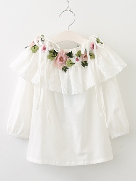 Sweet Embroidery Appliques Solid Color Girl's Shirt