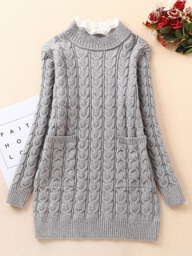 Plain Knitting Heding Thick Mid-Length Sweater