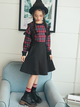 Plaid Lace Patchwork Long-Sleeve Girl's A-Line Dress