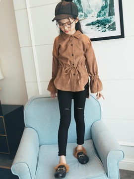 Fashion Lapel Flare Sleeve Single-Breasted Girl's Cardigan
