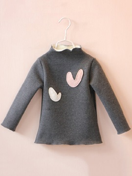 Heart Print Patchwork Turtleneck Thick Girl's Sweater