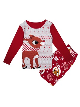 Christmas Deer Print Color Block Unisex Outfit Pajamas