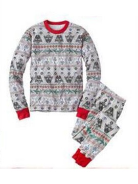 Christmas Print Color Block Unisex 2-Pcs Outfit Pajamas