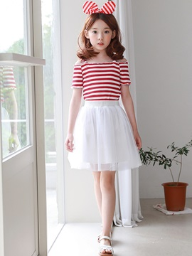 Stripe Short Sleeve Off-The-Shoulder Girl's T-Shirt