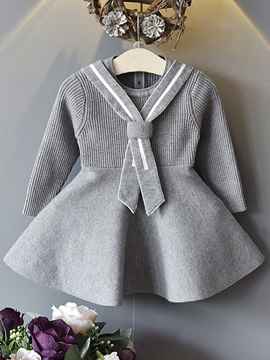Plain with Tie A-line Baby Girl's Dress
