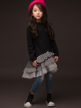 Asymmetric Stripe Mesh Patchwork Layered Girls' Dress