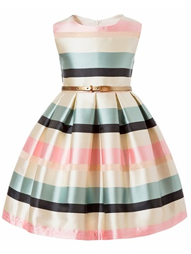 Stripe Color Block Sleeveless Girls' Princess Dress