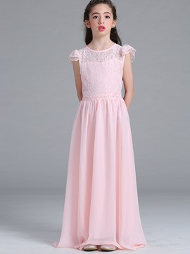 Floor-Length Petal Sleeve Mesh Lace Girls' Dress