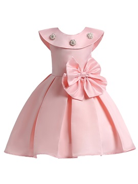 Ruffled Collar Pleated Bead Bowknot Girls' Dress