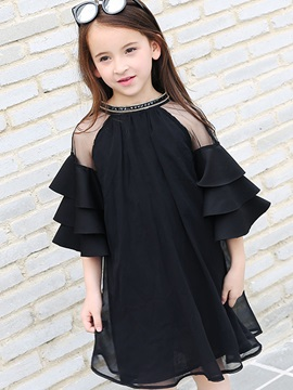 Mesh A-Line Patchwork Girl's Dress