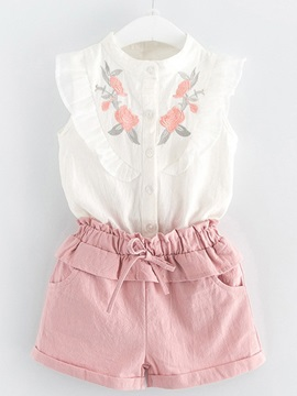 Floral Embroidery Pocket Girl's Suit