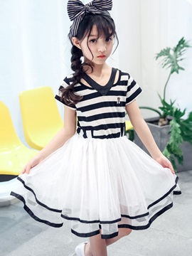 Knee-Length A-Line Mesh Stripe Girl's Dress