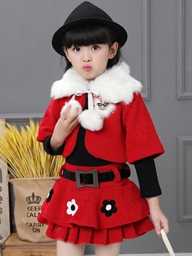 Christmas Fake Three-Piece Girls' Layered Dress