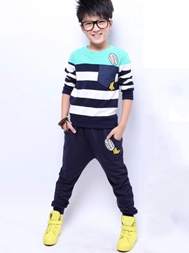 Korean Strip Pocket Pleated Appliques Two-Piece Boy's Sets