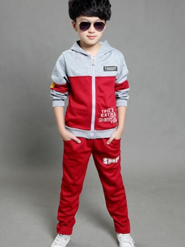 Casual Color Block Letter Printed Hooded Zipper Two-Piece Boy's Sets