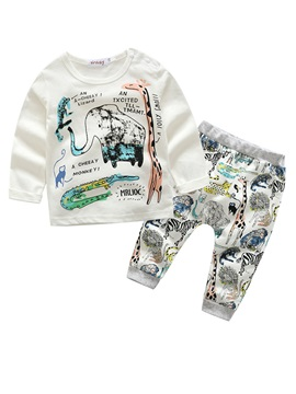 Cartoon Animal Long Sleeve 2-Piece Outfit