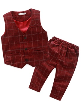 Plaid Single-Breasted Sleeveless Boy's 2-Pcs Vest Outfit