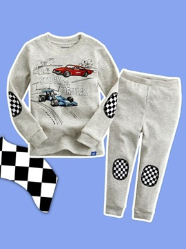 Gray Car Print Plaid Boy's 2-Pcs Outfit