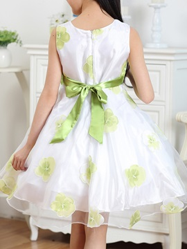 Green Floral Print Bowknot Decorated Girl's Dress