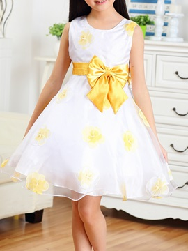 Yellow Floral Print Bowknot Girl's Dress