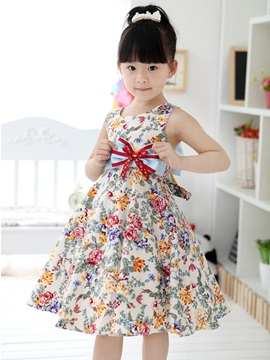 Beige Floral Print Bowknot Decorated Girl's Dress