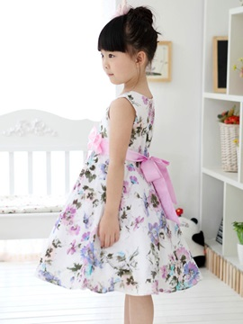 Grey Floral Print Bowknot Decorated Girl's Dress