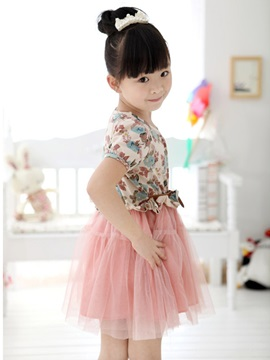Brown Print Patchwork Girl's Lace Dress
