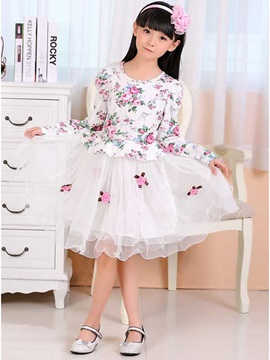Floral Decorated Print Patchwork Girl's Lace Dress