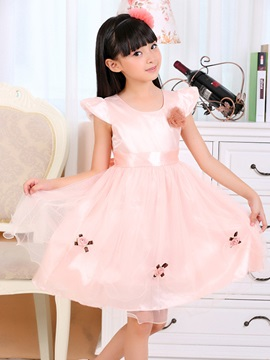 Floral Decorated Layered Girl's Lace Dress
