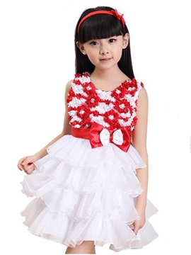 Floral Bowknot Decorated Layered Girl's Lace Dress