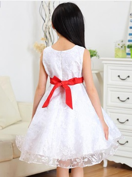 Red Bowknot Decorated Girl's Dress