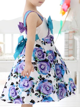 Blue Strappy Floral Print Bowknot Decorated Girl's Dress