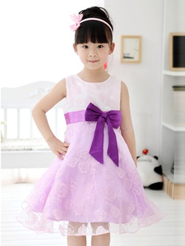 Purple Floral Print Bowknot Decorated Girl's Dress